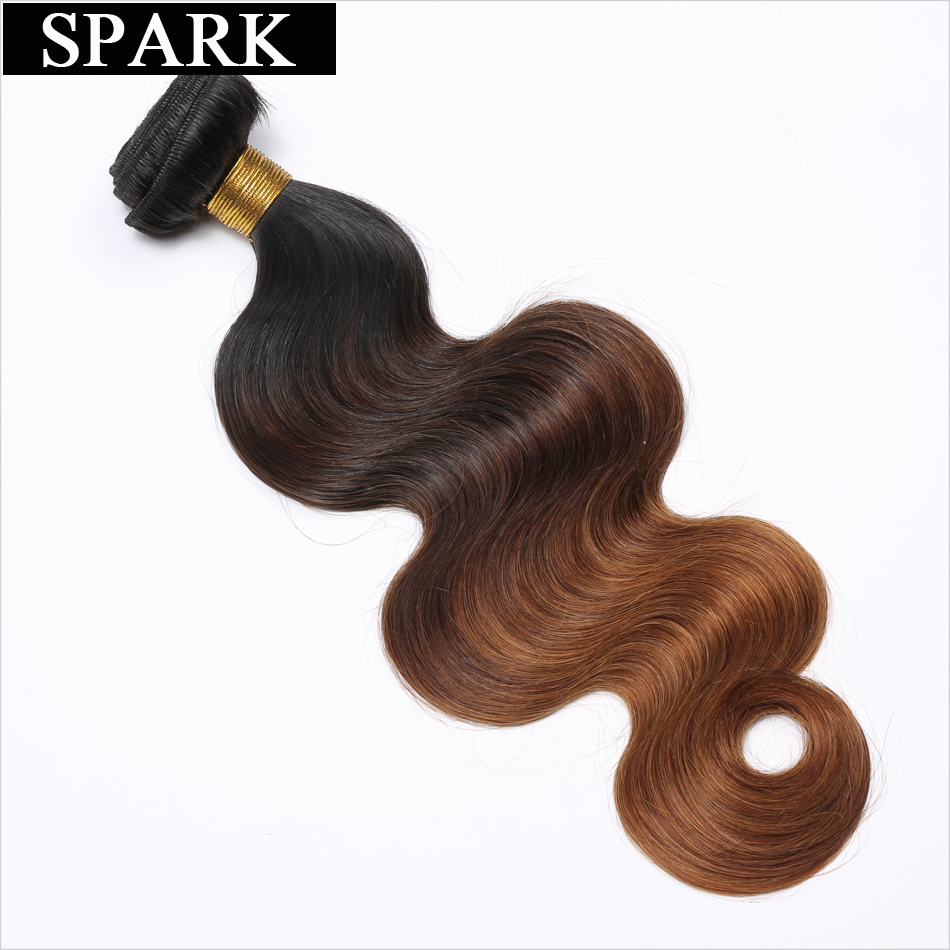 Spark Hair Ombre Brazilian Body Wave Hair 1/3/4 Bundles 100% Human - Mänskligt hår (svart)