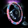 2016 Newest Lovely Cat Cartoon Printing Lady Women Car Steering Wheel Cover Leather Female Girls Covers With 38cm Diameter lzh