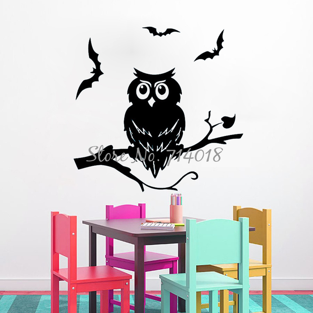 Night Owl On Branch Vinyl Wall Sticker Halloween Wall Decals Home Decor Wall  Art Halloween Festival