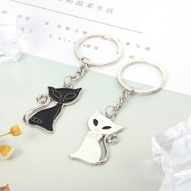Cat Keychain for Lovers Alloy Fashion Enamel Trinket Ring For Car Key Chain