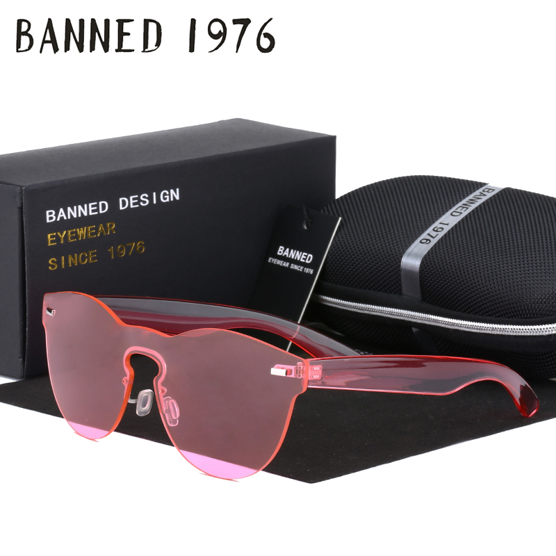 BANNED Fashion Women Sunglasses Cat Eye Shades Luxury Brand Designer Sun glasses Integrated Eyewear Candy Color UV400