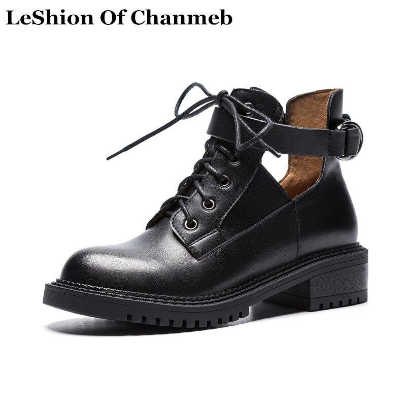 2018 حقيقية أوكسفورد جلدية أحذية الدانتيل يصل أسود الخريف الشتاء اللباس قطع حذاء من الجلد للنساء سميكة الوحيد bootie حذاء-في أحذية الكاحل من أحذية على  مجموعة 1