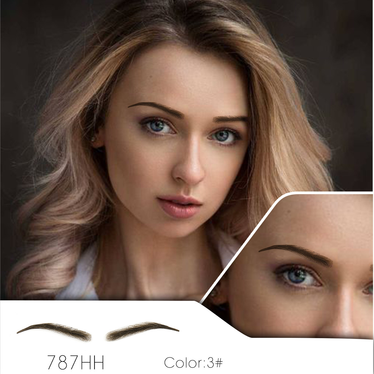 Handmade Human Hair False Eyebrows Lace Base For Women For Party Wedding Cosplay Star Fake Eyebrow Synthetic Eyebrows-in Eyebrow Enhancers from Beauty & Health