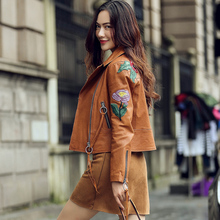 Women Real leather jackets Printed Embroidery real leather jacket Spring autumn sheepskin