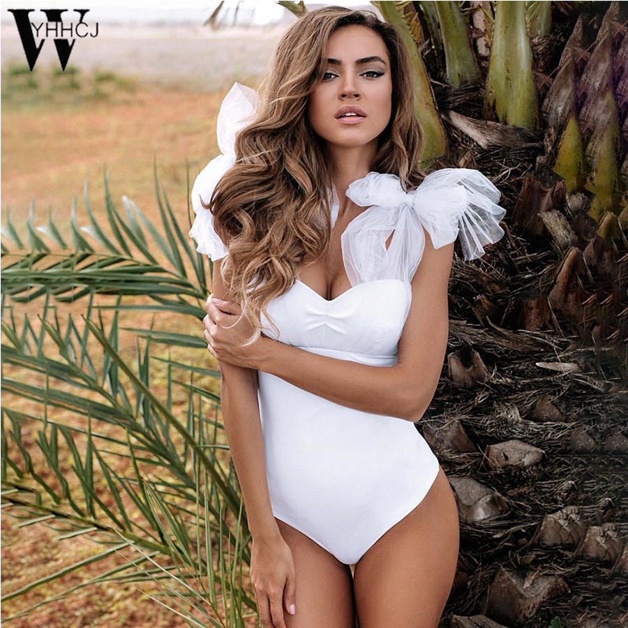 WYHHCJ 2018Summer Bodysuits Sleeveless Sexy Off The Shoulder Jumpsuit Black Women Mesh Femme White Romper