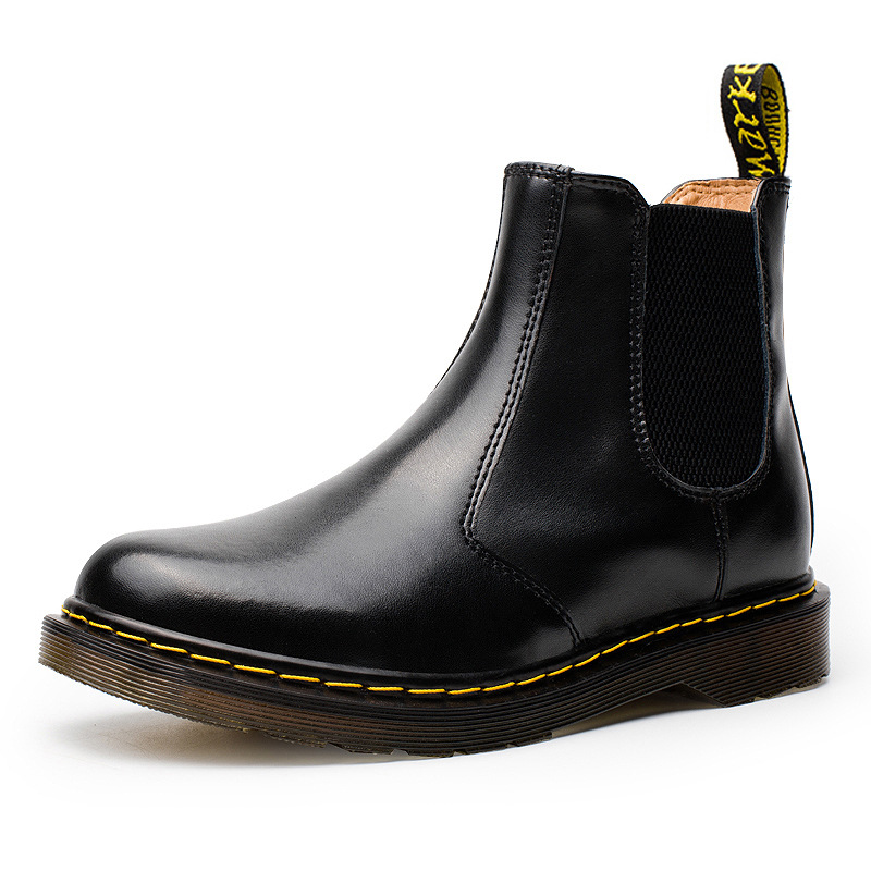 Large Size 34 46 Men Genuine Leather Boots Fashion Black Snow Boots Slip on Waterproof Ankle