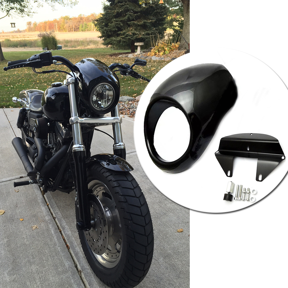 For Sportster Dyna XL 883 XL 1200 XL883 XL1200 Motorcycle Headlight Mask Fairing Bezel Front Cowl Visor Fork Accessories