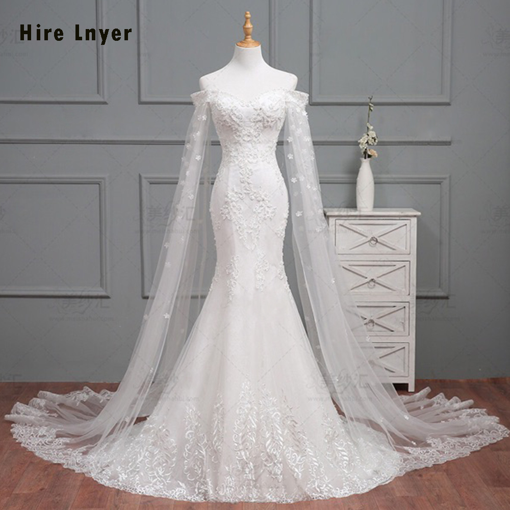HIRE LNYER 2019 New Arrive Slim Elegant Mermaid Wedding Dress Vestido De Noiva Sereia Beaded Appliques