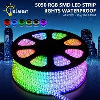 Быстрая доставка 100 м = 10000 см/roll RGB светодиодные ленты Водонепроницаемый SMD 5050 AC 220 В светодиодные полосы 5050 220 В свет с ЕС Мощность plug