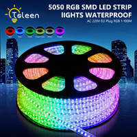 Fast Shipping 100M=10000cm/Roll RGB LED strip Waterproof SMD 5050 AC 220V led stripe 5050 220V Light With EU Power Plug