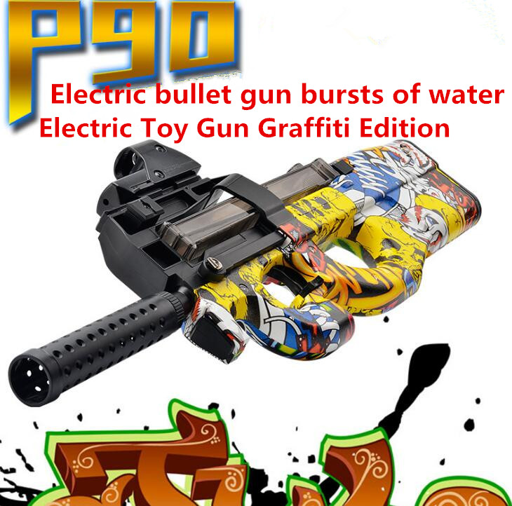 Hot P90 Electric Toy Gun Graffiti Edition Live CS Assault Snipe Weapon Soft Water Bullet Bursts Gun Funny Outdoors Toys For Kid electric plastic p90 graffiti edition toy gun soft water bullet toy gun outdoors live cs weapon tattoo water gun toys for kids
