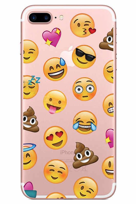 Capa de telefone de silicone dos desenhos animados para iphone 7 8 plus xs max xr bonito macio qq expressão capa para iphone x 6 s plus 5 se coque fundas
