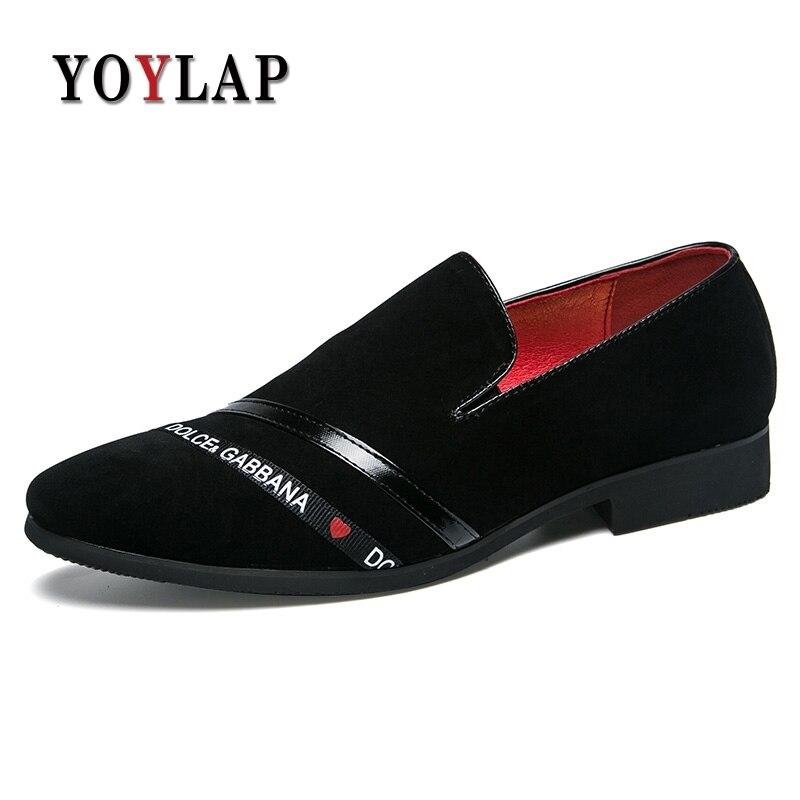 Guapo Vestir 45 De Los Gamuza La Yoylap Hombres Tamaño Zapatos Marca rojo Plus Cómodo Oxfords Negro Vaca Cuero 38 Ya0qRYfwx