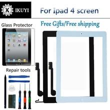 Новый для iPad 4 Сенсорный экран планшета и кнопка «домой» спереди Стекло Дисплей сенсорный Панель Замена A1458 A1459 A1460 с инструментами