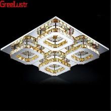 Современные янтарные хрустальные светодиодные квадратные потолочные светильники, светодиодные плафоны из нержавеющей стали, лампа для коридора, люстры для домашнего декора