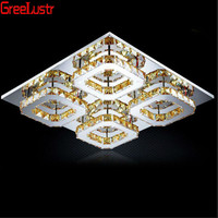 Modern Amber crystal led square Ceiling Lights Fixture Led Plafon stainless steel aisle corridor lamp Lustres Home Deco