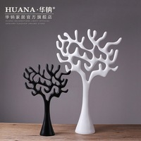 Modern New Home Furnishing Resin Decoration Decorative Crafts Black And White Lucky Tree Gift Manufacturers