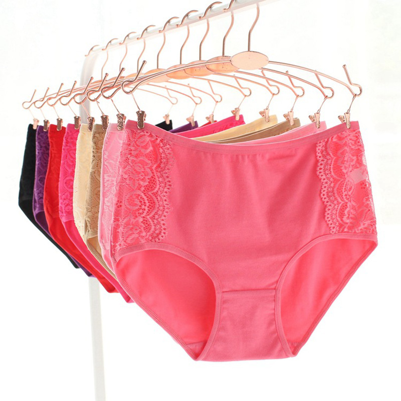 Sales Promotion New Arrived 201 Underwear Solid Girls Lace Cotton Young Girl Panties 5pc/lot Teenage Intimates Briefs   L,XL,XXL