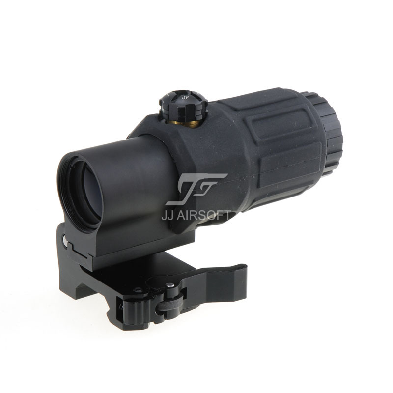 JJ Airsoft 3X Magnifier with Switch to Side STS Quick Detachable QD Mount Black