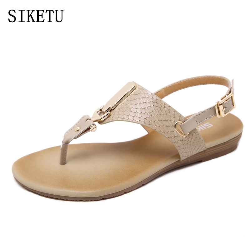 SIKETU Summer woman Bohemian Fashion Flat Sandals Women's Casual Beach Sandals Ladies Soft Leather Plus Size Shoes free shipping capputine new summer sandals woman shoes 2017 fashion african casual sandals for ladies free shipping size 37 43 abs1115