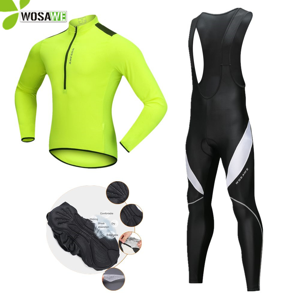WOSAWE 2018 Autumn Cycling Clothing Man Reflective Pants Bicycle Clothes Bike Wear Gel Pad Suit Sports Kit Cycle Jersey Sets wosawe cycling jersey sets winter thermal sports pro jersey triatlon bike bicycle clothing jackets pants men women