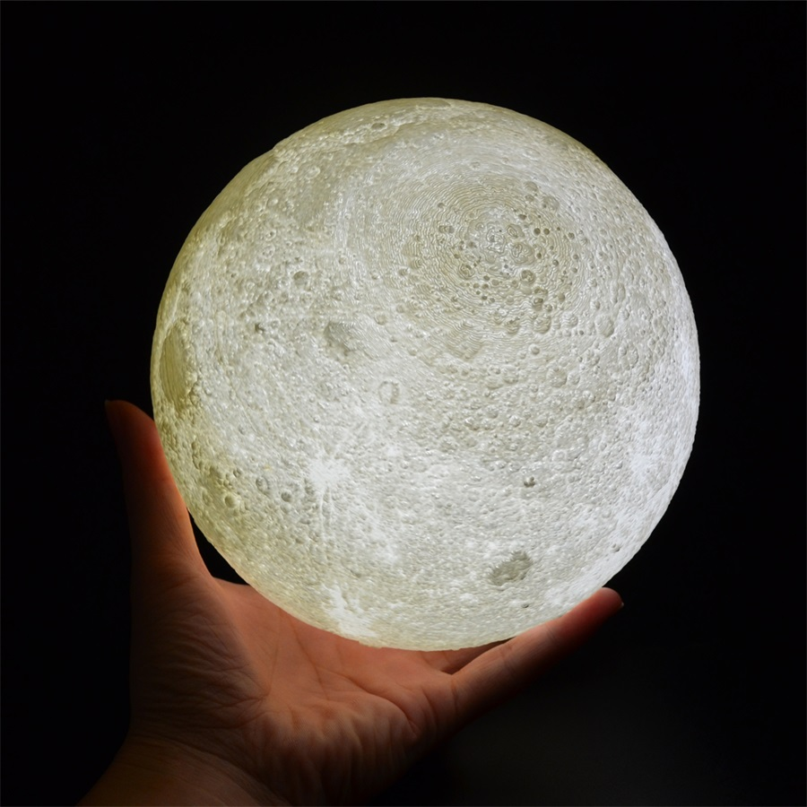 Rechargeable 3D Print Moon Lamp with LED Light For Bedroom Decoration 12