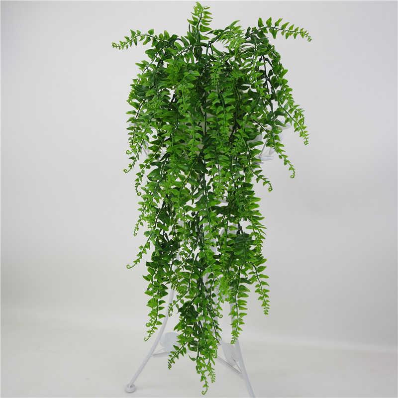 ประดิษฐ์พลาสติก VINE แขวนผนังสวน Living Room Bar ตกแต่งปลอมใบโรงงานสีเขียว Ivy P0.11