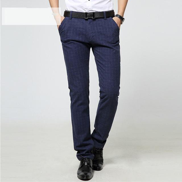 2 Color Tamaño 29-36 Moda 100% Algodón corredores Hombres de negocios Pantalones Casuales ropa de hombre Negro azul pantalones rejilla pantalones Otoño