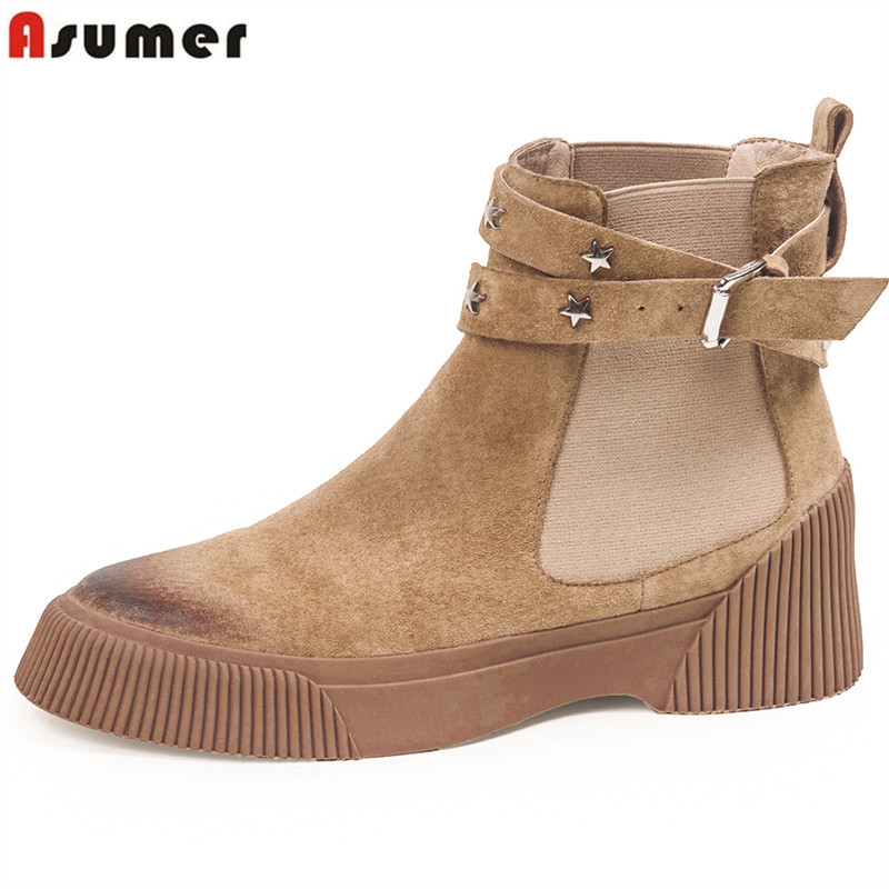 ASUMER 2018 fashion ankle boots for women round toe genuine leather boots flat platform shoes woman autumn winter ladies boots cuculus 2018 fashion thick heel female shoes round toe genuine leather ankle boots for women autumn winter platform boots 1500