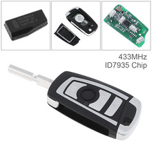 купить 433Mhz 4 Buttons EWS Modified Flip Remote Key PCF7935AA ID44 Chip for BMW Car Vehicle онлайн