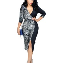 2019 Sequined Fashion Women new v-neck knee length skinny pencil midi dress  bodycon bandage 680d9bb33c2f