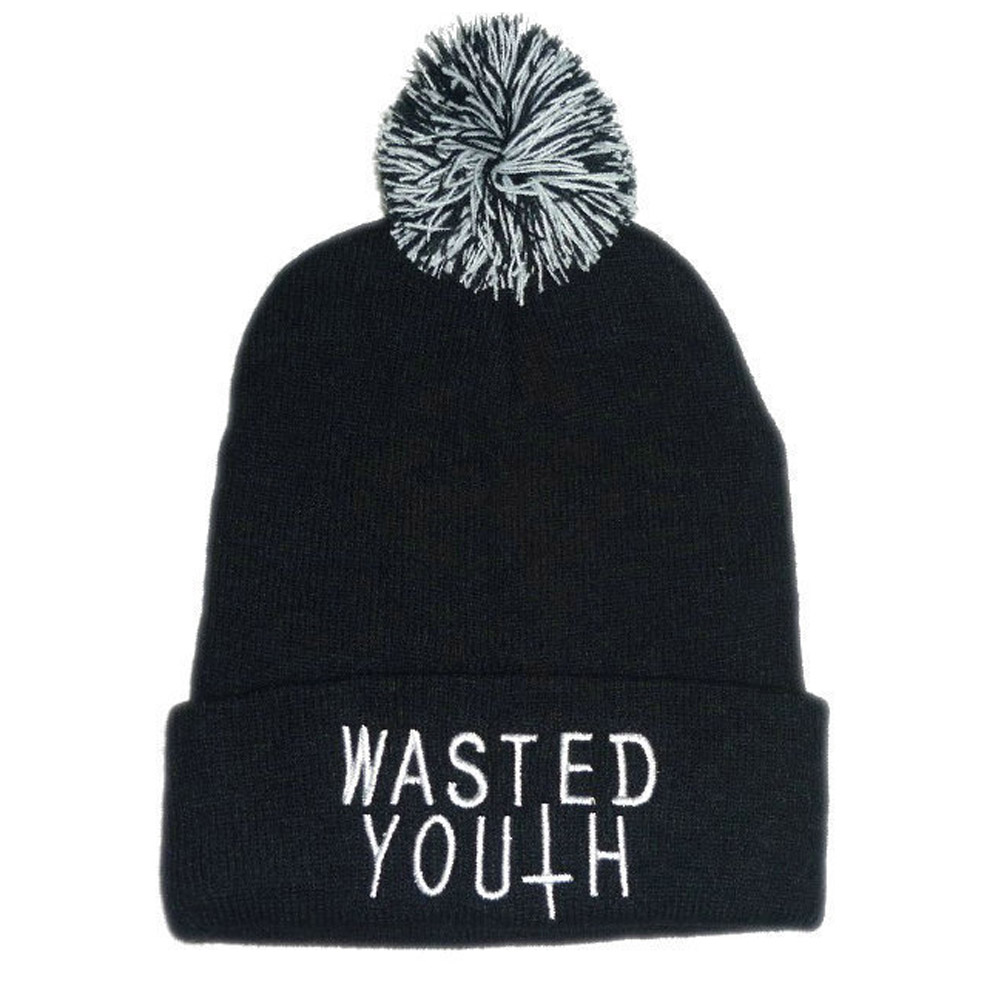 Winter Knitted Ski Skullies Wool ball Cap Bonnet Gorro Masculino Hat For Women Men Wasted Youth Warm Beanies Hip hop Skull Hats wool skullies cap hat 10pcs lot 2289