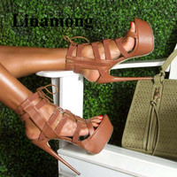 Brown Sexy Platform Super High Heel Party Shoes Summer Fashion Side Zipper Open Toe Lace Up Women Pumps Normal Size