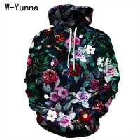 W Yunna Floral Print Harajuku 3d Sweatshirt Women Plus Size Oversized Unisex Full Sleeves Women Hoodies Leisure Coat Dropship