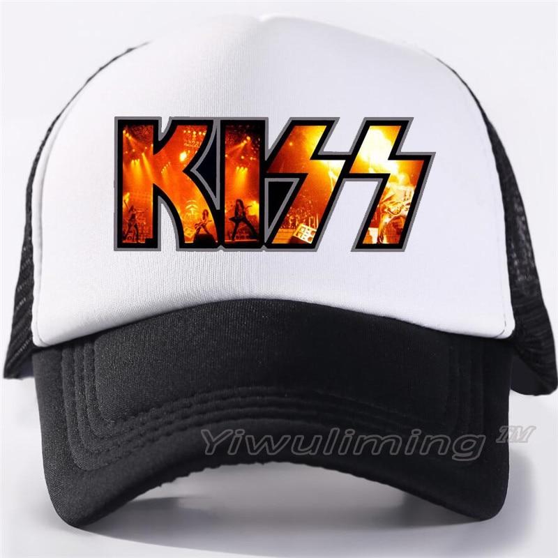 New Summer Trucker Caps KISS  Cool Summer Black Adult Cool Baseball Mesh Net Trucker Caps Hat For Men Adjustable