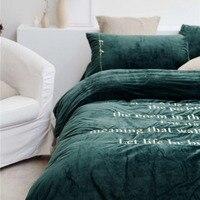 Новые двусторонние детские бархатные постельный комплект RUIYEE бренд изысканной вышивкой постельных принадлежностей queen король пододеяльни