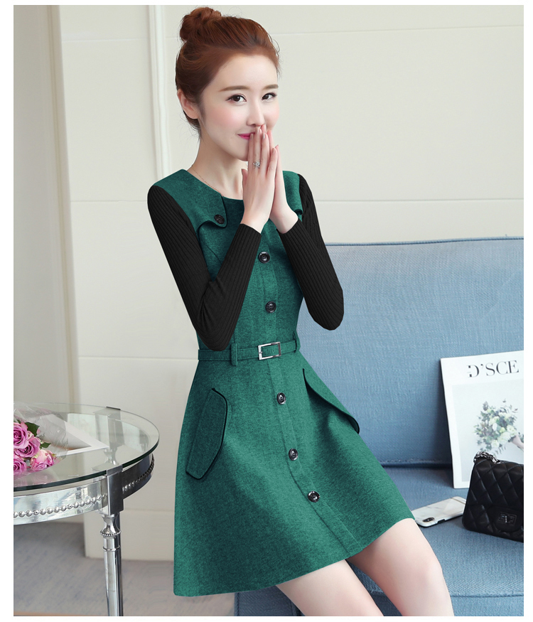 winter new round collar single-breasted cloth dress belt buttons A word women dresses Korean fashion outfit lady vogue vestido 20