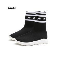 AAdct Autumn new girls shoes mesh comfortable breathable high-top elastic socks casual children shoes Casual kids shoes