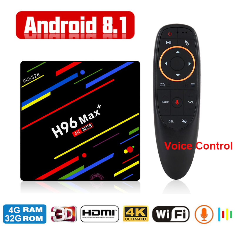 H96 MAX Plus Android 8.1 TV Box 2018 RK3328 4G 32G WiFi Bluetooth USB3.0 Media Player 4K HD Smart Set Top Box with Voice Control 2018 4g 32g smart tv box h96 max android 8 1 4k rk3328 quad core usb3 0 set top tv box 2 4g wifi media player with voice control