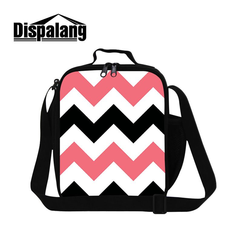 Dispalang Stylish Kids Thermo Lunch Bag Geometrical Stripe Picnic Cooler Bag Food Storage Container Bags Portable Thermal Bag
