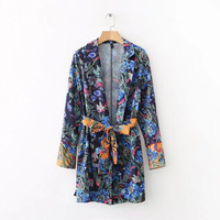 Women Europe Style Flower Print Kimono Tops 2018 Summer New Belt Bow Casual Loose Blouses Femme Long Sleeve Sexy V neck Shirts