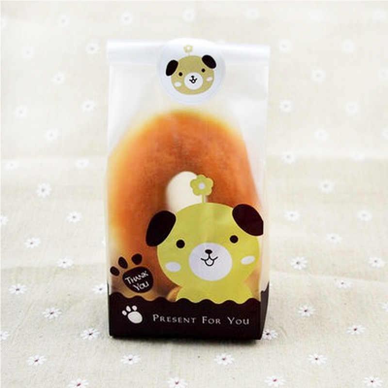25 יח'\אריזה קריקטורה כלב חתול ארנב סוכריות קוקי דבק שקית מתנת פלסטיק שקיות חתונה מסיבת יום הולדת אריזת שקיות