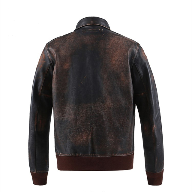 CLEARANCE autumn men's fashion retro vintage distressed nappa cattle hide real leather flight biker jacket