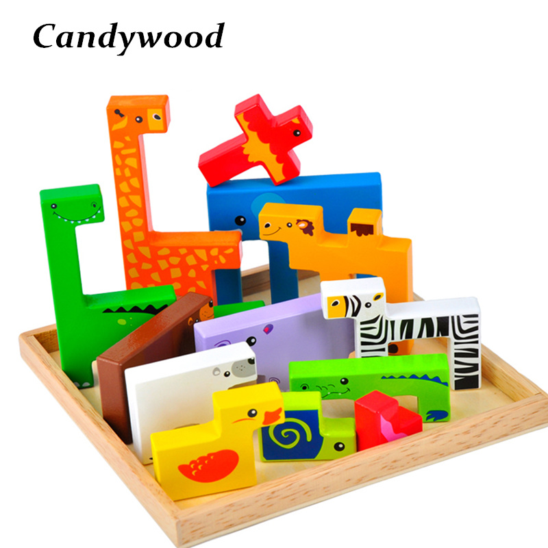Wooden Creative Animal Blocks toys Wood Geometric shape Animal Blocks Children Educational Toy For Baby Boy Girl