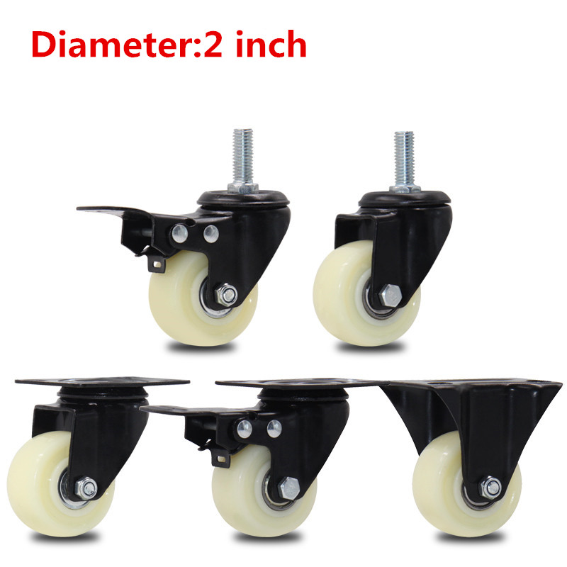 4pcs 2 inches 50mm Bearing Capacity 100kg Black Trolley Wheels Caster Nylon quiet Swivel Casters for Office Chair Sofa Platform4pcs 2 inches 50mm Bearing Capacity 100kg Black Trolley Wheels Caster Nylon quiet Swivel Casters for Office Chair Sofa Platform