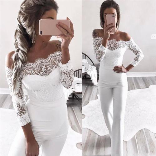 9c75108a7c9e Sexy Women Off Shoulder Slash Neck Lace Jumpsuits White Bodycon Ruffles  Party Playsuits Bodysuit Bell Bottom Pants