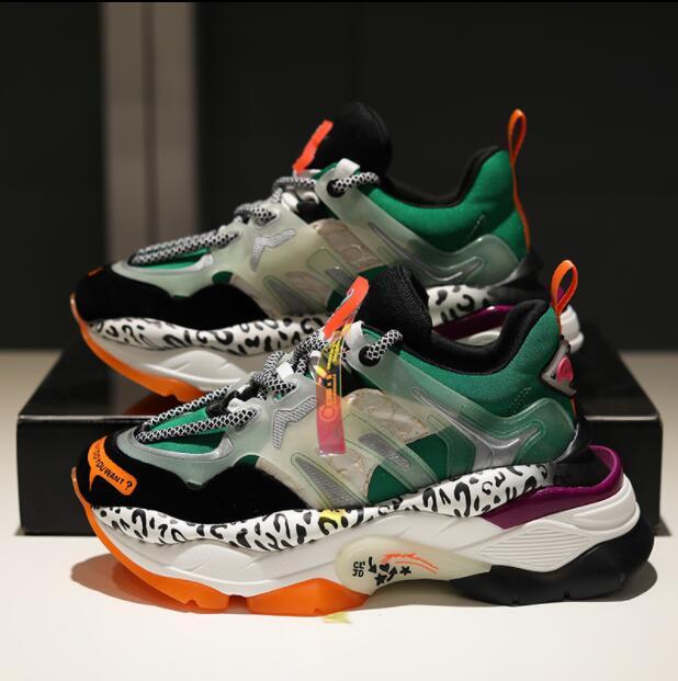 Ayakk.'ten Vulkanize Kadın Ayakkabıları'de Yüksek Kaliteli Kadın Sneakers Ayakkabı Kadın düz ayakkabı vulkanize ayakkabı Deri beyaz ayakkabı 2019 Yeni Kalın Tabanlı Renk Eşleştirme N23'da  Grup 2