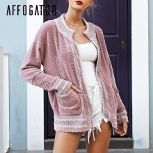 Affogatoo Chenille sweater cardigan knitted Elegant tassel 2018 autumn winter cardigan women Casual pocket cardigan female coats(China)