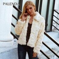 2018 new women autumn winter warm jacket white color faux rabbit fur coat