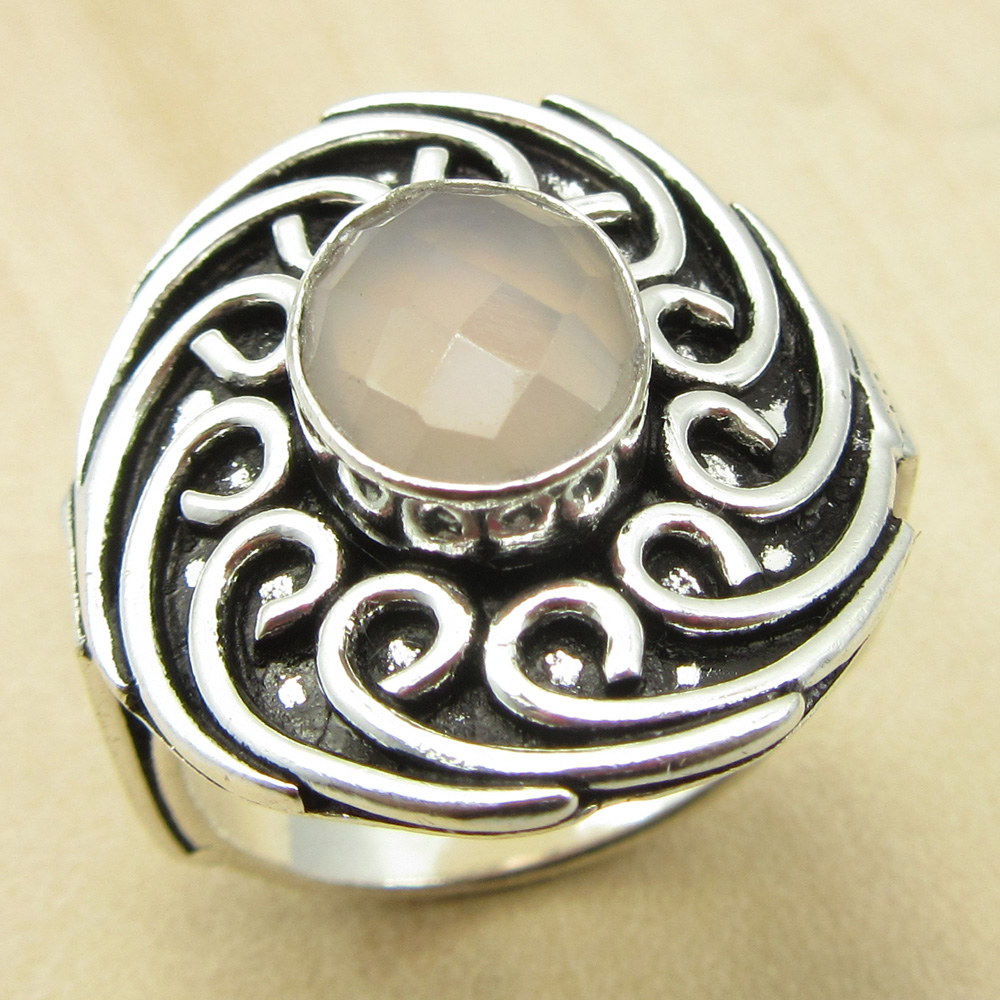 fiery rosa cuarzos oxidado anillo tamao eeuu metal plateado plata joyera